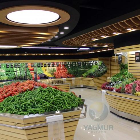 Manav Reyonu 2 Kasalı Özel Model Dekoratif tavan çalışmasıyla birlikte.